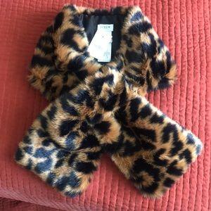 J. Crew leopard print fur wrap scarf